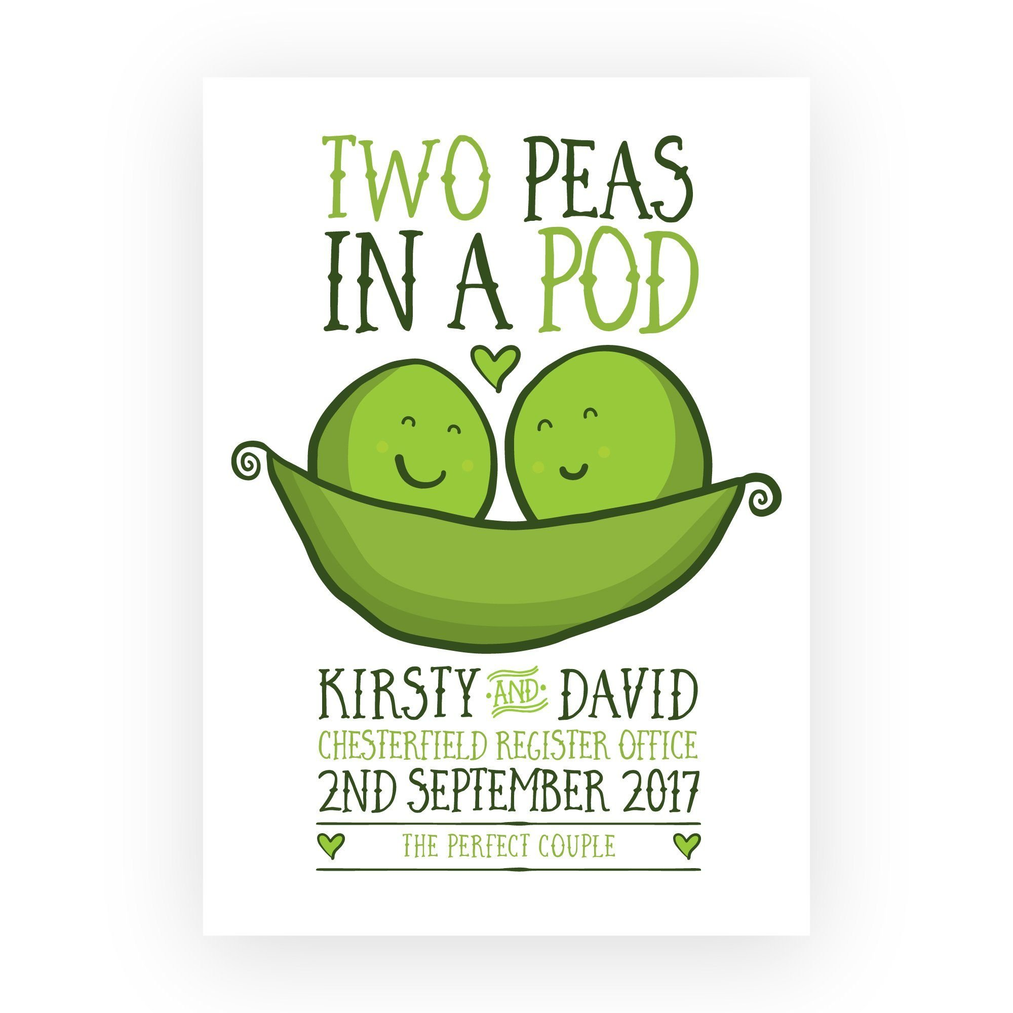 Personalised Peas in a Pod Wedding Print