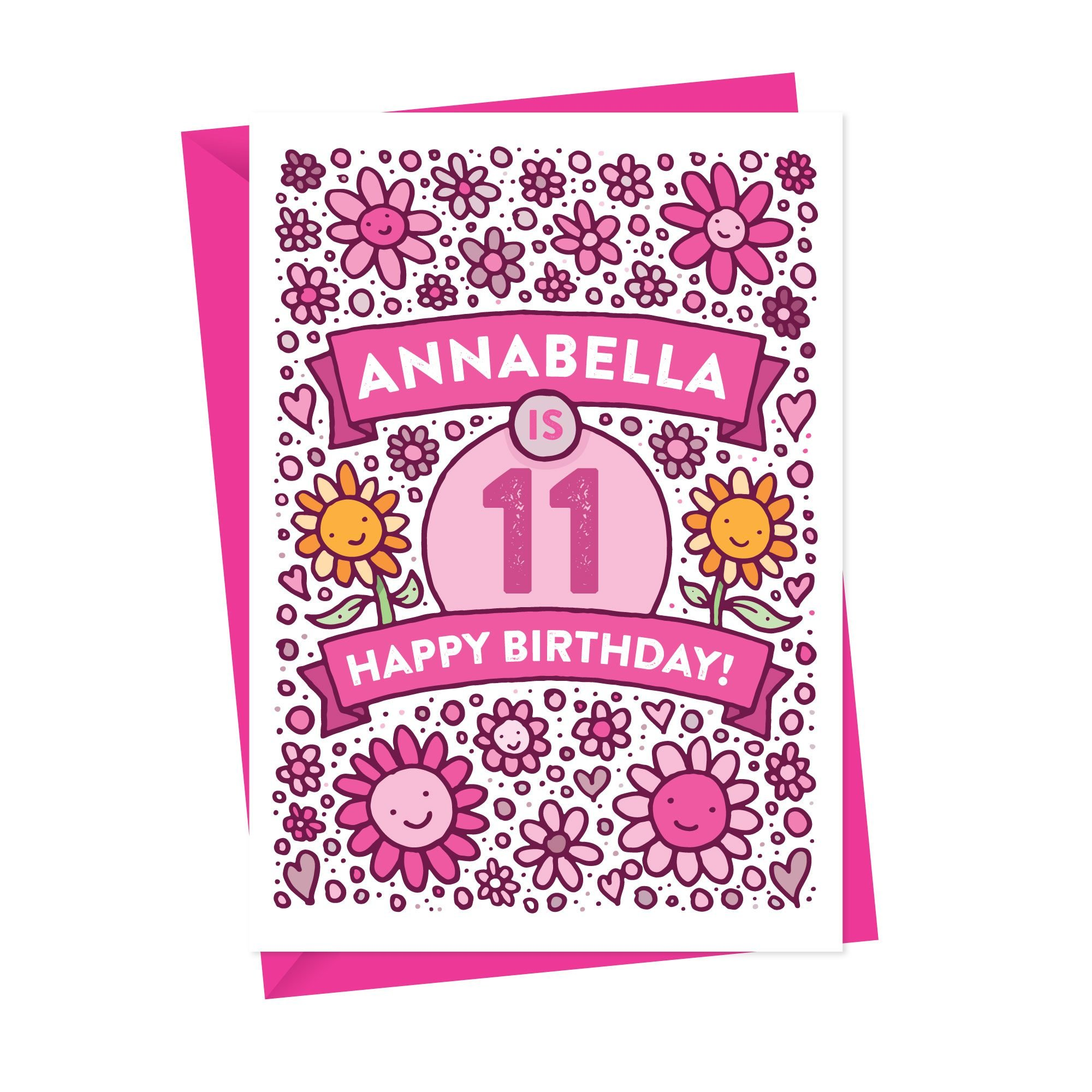 Personalised Birthday Card Illustrated Flowers