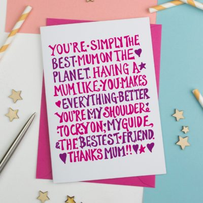 Simply the best mum mothers day card