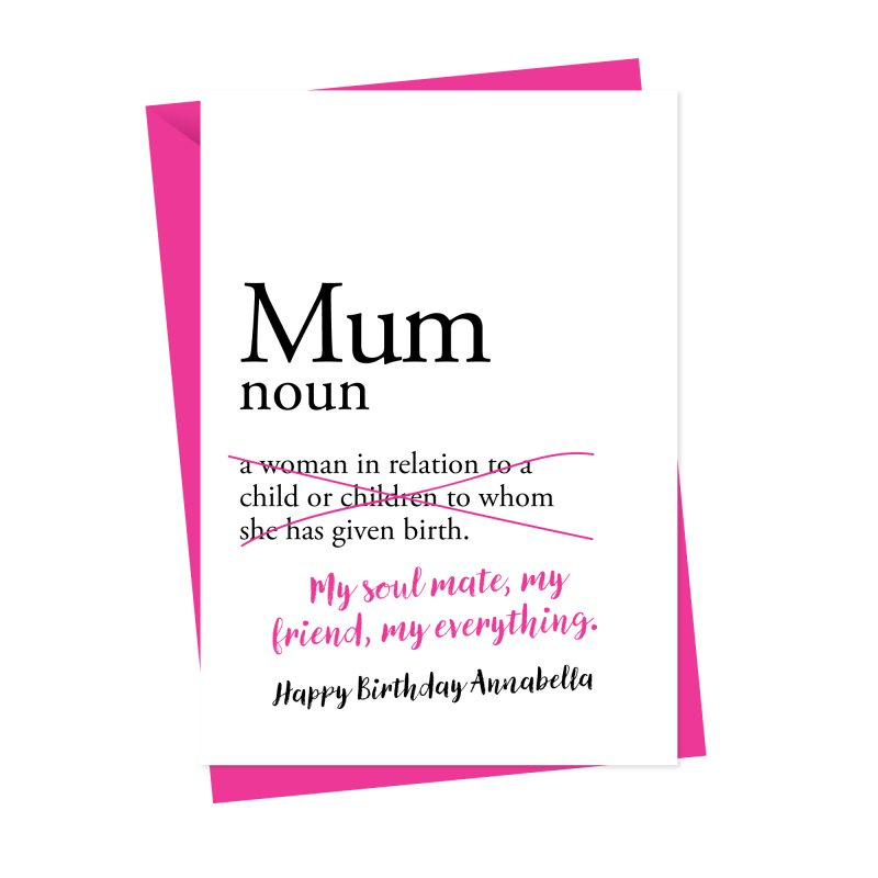 Dictionary Mum/Mummy/Mother Personalised Birthday Card