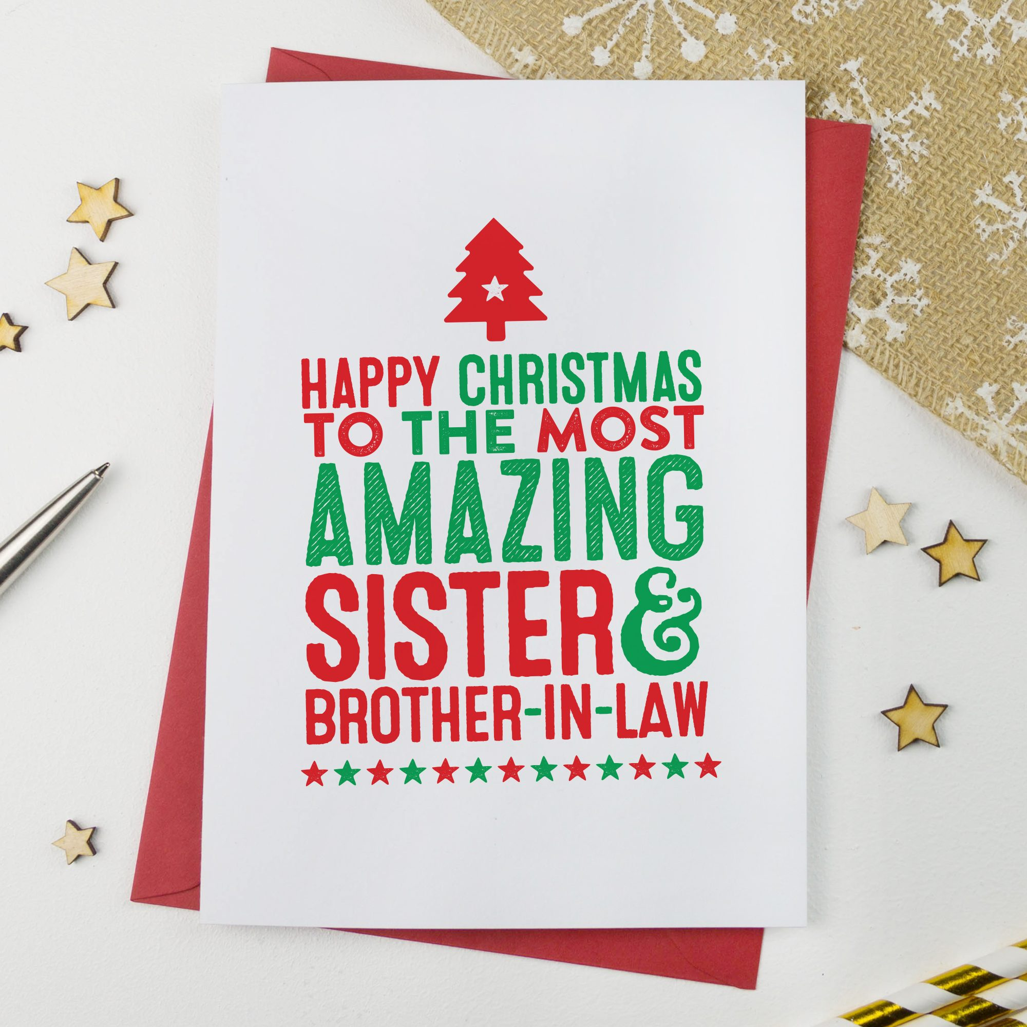 Amazing Sister and Brother in Law Christmas Card